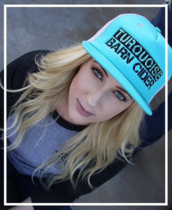 Turquoise Embroidered Mesh Snapback