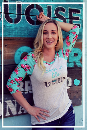 Womens Floral Born in the Barn 3/4 sleeve