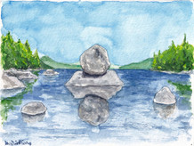 The Big Boulder In The Lake At Maine