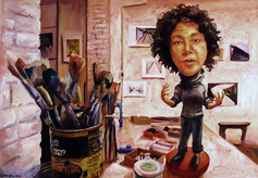 Meredith In Her Studio As a Bobblehead