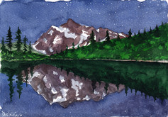 Nighttime at the Mountain Lake