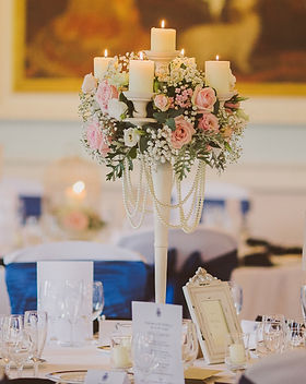 Ivory wedding candelabras