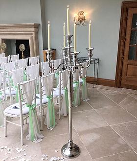Floor standing silver candelabras