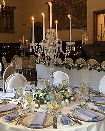 Peckforton Castle Wedding Flowers Crystal Candelabras