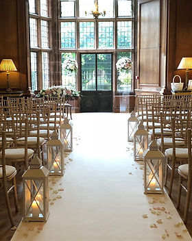 White wedding aisle lanterns