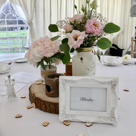 Rustic centrepieces at Hilltop Country House, Cheshire