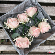 Blush pink rose mens buttonholes