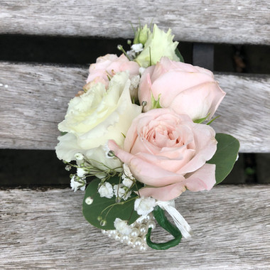 Blush pink ladies wrist corsage pearl bracelet