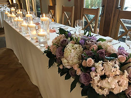 Blush, mave and lilac wedding flowers, roses hydrangeas