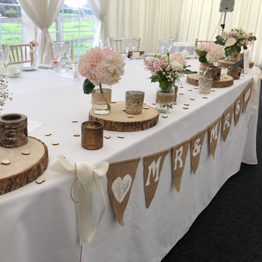 Wedding top table idea at Hilltop Country House Cheshire