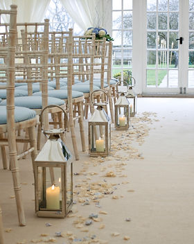 Silver wedding aisle lanterns
