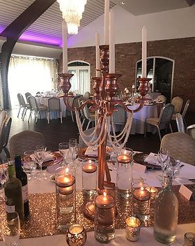 Rose gold candelabras