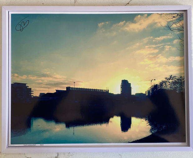 Title: Thames at twilight Hammersmith. Size: 17x13 inches