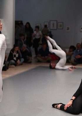 """Photo from Whitney Museum """"Transmissions"""" by Nick Mauss Dancers in photo: Matilda Sakamoto Quentin Stuckey Kristina Bermudez Forrest Hersey"""