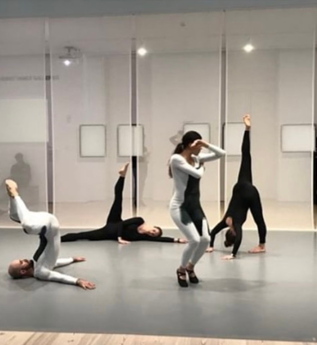 "Photo from Whitney Museum ""Transmissions"" by Nick Mauss Dancers in photo: Matilda Sakamoto Alexandra Albrecht Kristina Bermudez Burr Johnson"