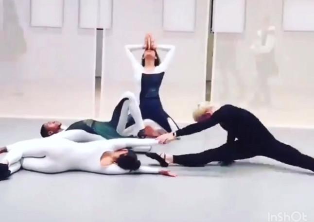 "Live video from Whitney Museum ""Transmissions"" by Nick Mauss Dancers: Matilda Sakamoto Quenton Stuckey Kristina Bermudez Brandon Collwes"