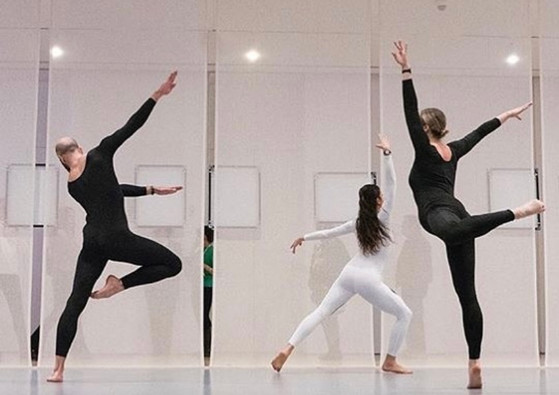 """Photo from Whitney Museum """"Transmissions"""" by Nick Mauss Dancers in photo: Alexandra Albrecht Kristina Bermudez Burr Johnson"""