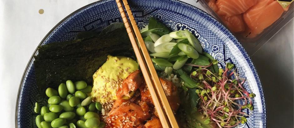 Teriyaki Deconstructed Sushi Salmon Bowl