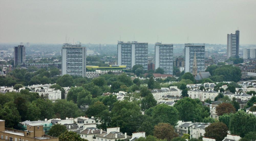 Tower blocks over city horizon