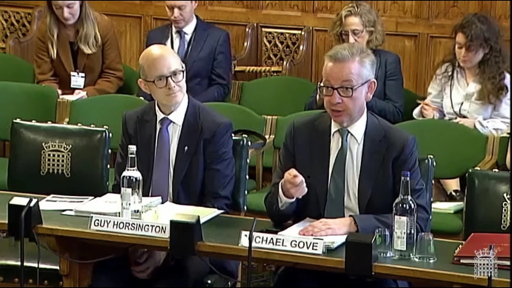 With Michael Gove at a select committee