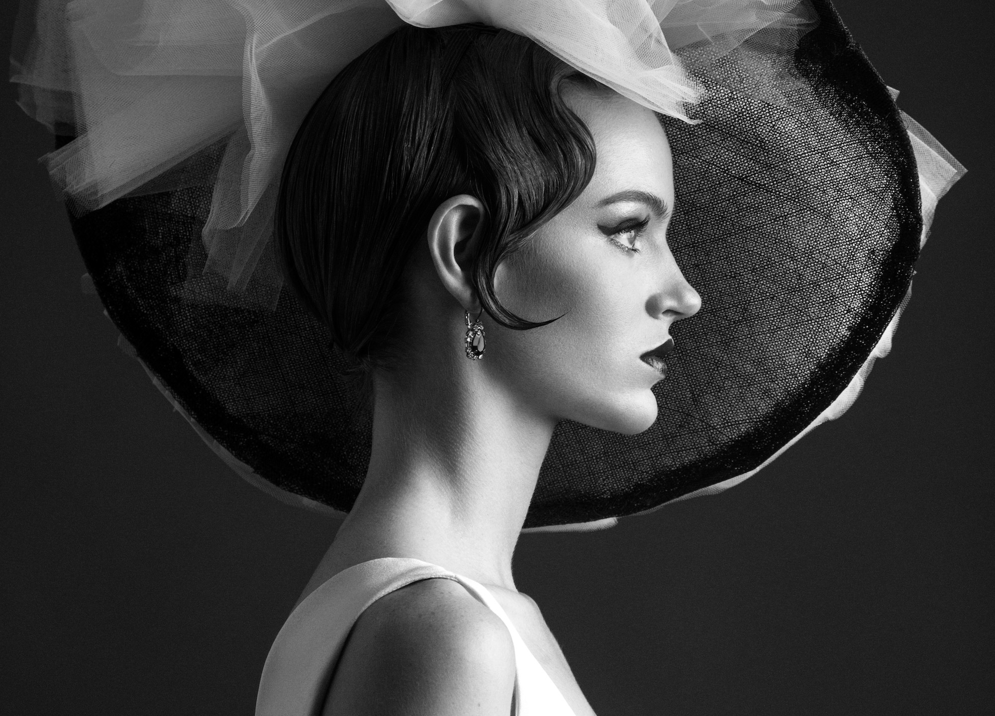 Black and white tulle hat