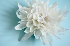 Dahlia flower headpiece for a bride.