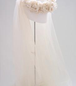 Silk flower crown with long veil