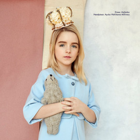 Flower crown headpiece worn by Mckenna Grace on the POSH KIDS MAGAZINE.