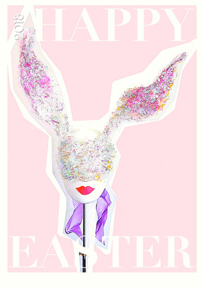 Bunny mask and huge bow headpiece /Easter 2018