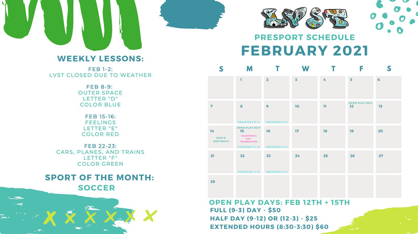 February Calendar LVST