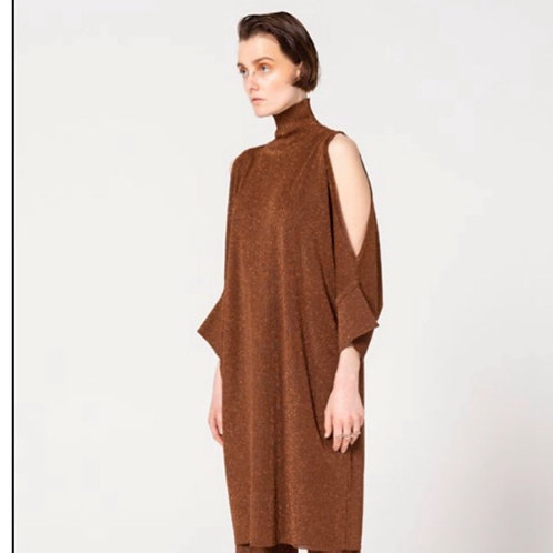 Bronze Sparkle Open Shoulder Dress