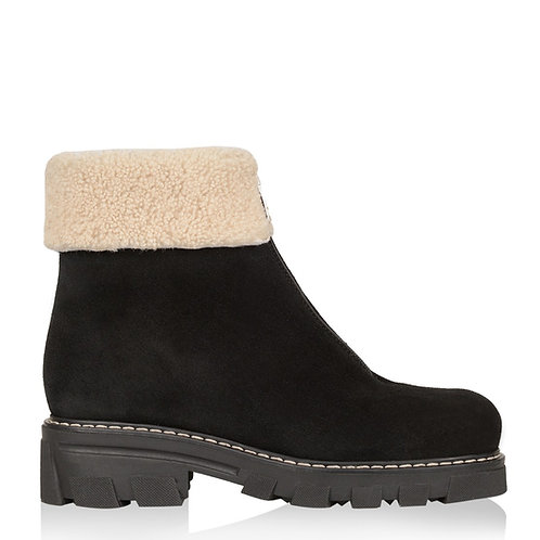 ABBA SHEARLING-LINED SUEDE BOOTIE