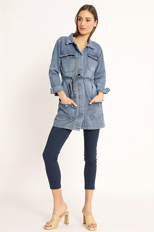 DENIM TRENCH COAT WITH FITTED POCKETS