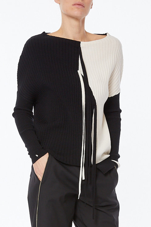 OVERSIZED KNIT SWEATER IN TWO-TONE