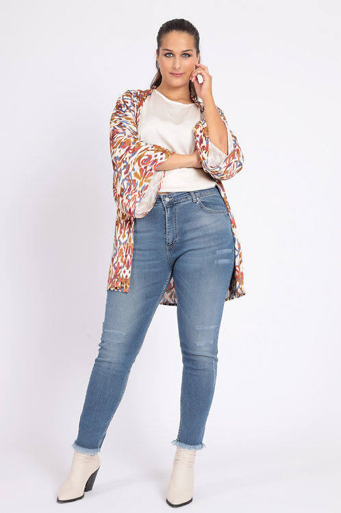 5 POCKETS SKINNY JEANS WITH FRINGED BOTTOM
