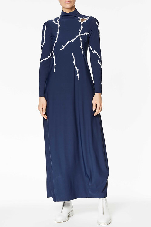 LONG DRESS IN STRETCH RECYCLED POLYAMIDE WITH CONTRASTING EMBROIDERY