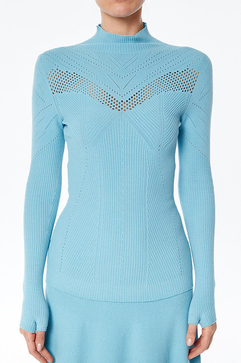 PERFORATED RIBBED TURTLENECK