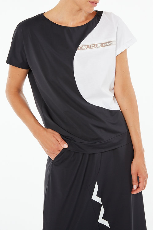 """WHITE COTTON T-SHIRT WITH """"OBLIQUE CREATIONS"""""""