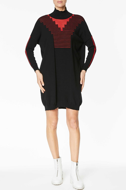 MIDI DRESS WITH KNITTED HIGH NECK