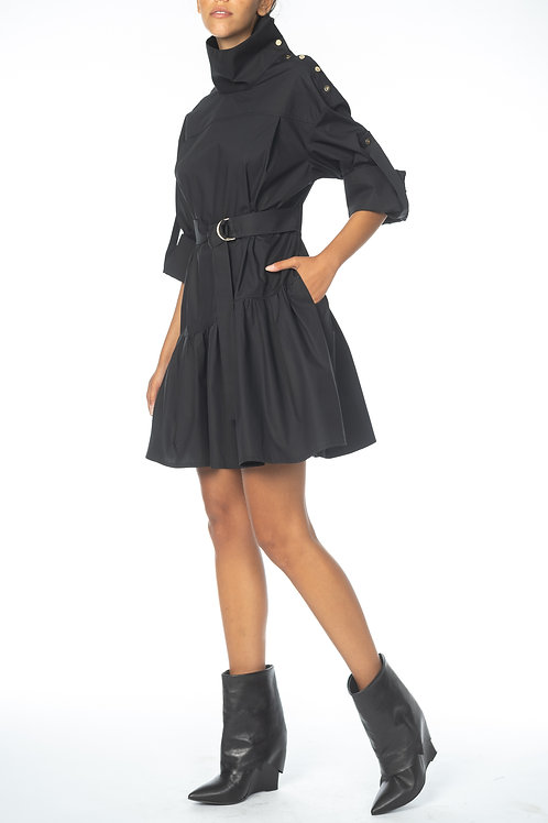 Dress with button collar