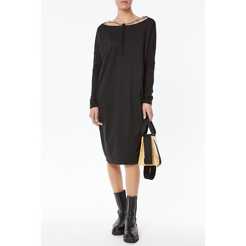 Lyocell stretch midi dress over with chain necklace