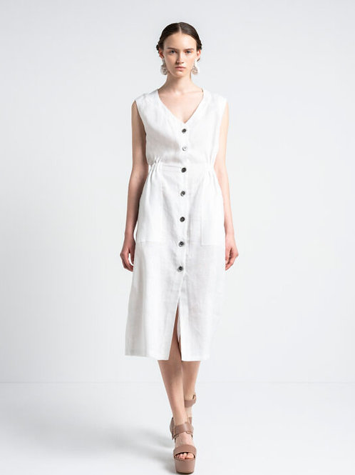 Linen Spirit-Midi Shirt Dress