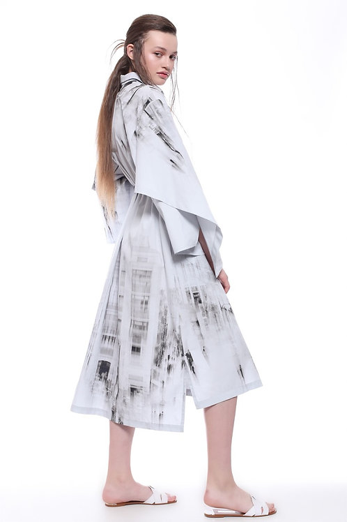 White with Black Print Dress Ikona