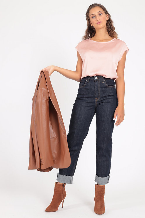 5 POCKETS HIGH WAIST JEANS WITH RAW CUT LAPEL