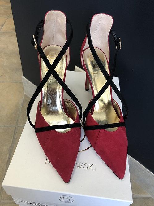 Suede Red & Black Heel