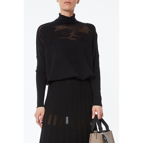 Turtleneck knitted sweater with inlay motif