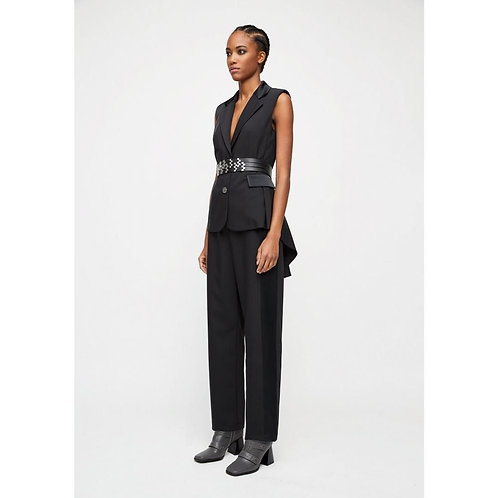 Vest with black satin inserts