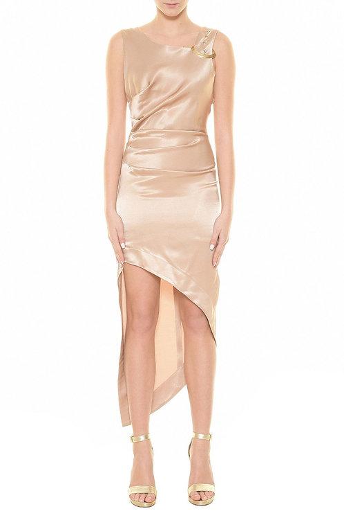 Long satin asymmetrical dress