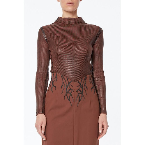Knitted ribbed mock turtleneck sweater