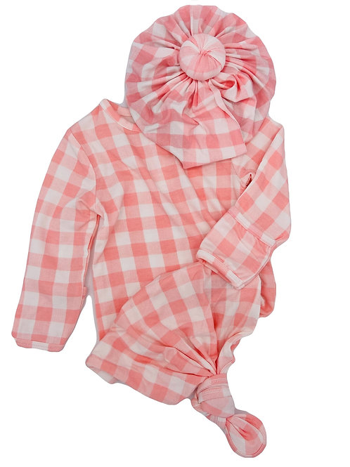 Pink gingham gown & head wrap
